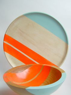 Modern Neon Hardwood 10 Dinner Plate, Electric Orange