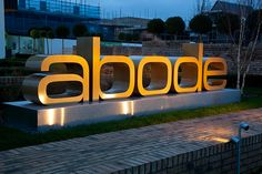 Abode marketing suite - exterior monolith sign