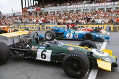 F1 - 1969 Nurburgring grid start. Ickx, Stewart and Oliver in the front row. Hulme at left. Every