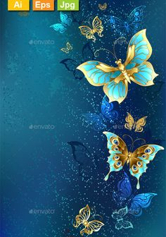 Illustration of Flying gold, jewelry butterfly on blue textural background. vector art, clipart and stock vectors. Butterfly Wallpaper Iphone, Cellphone Wallpaper, Flower Wallpaper, Iphone Wallpaper, Cloud Wallpaper, Butterfly Painting, Blue Butterfly, Blue Backgrounds, Wallpaper Backgrounds