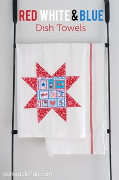 DIY Dishtowels and Red, White and Blue 4th of July Crafts