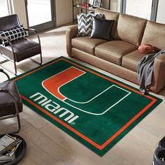 University of Miami Logo Area Rug Miami Football, Pittsburgh Steelers, Dallas Cowboys, Sports Rug, Nfl Sports, Large Rugs, Small Rugs, Miami Hurricanes Gear, University Of Alabama Logo