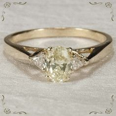 Exceptional Fancy Yellow Diamond Ring 14k Plumb Gold Engagement Ring