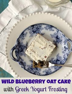 Wild Blueberry Oat Cake with Greek Yogurt Frosting
