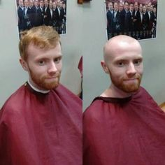 Bald Men With Beards, Bald With Beard, Shaved Head With Beard, Bald Men Style, Before And After Haircut, Bald Heads, Men's Hair, Shaving Cream, Hair Transformation