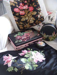 Nostalgia at the Stone House...vintage black & pink florals, roses