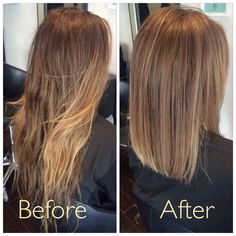 Before and after. Soft creamy ombre with a blunt lob. Cocohoney salon.