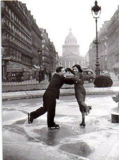 """""""Ice rink in the Pantheon, Paris France 1938 """" Vintage Paris, Old Paris, Paris Pics, Old Pictures, Old Photos, Vintage Photographs, Vintage Photos, Best Vacation Destinations, Black And White Pictures"""