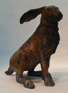 Raku fired ceramic hare sculpture with copper reduction glaze - gives the impression of bronze. These sculptures are all hand made originals, I do not use any casting process, they are approximately Ceramic Animals, Clay Animals, Ceramic Art, Rabbit Sculpture, Sculpture Art, Raku Pottery, Pottery Art, Year Of The Rabbit, 3d Figures