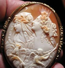 Fine cameo of night and day with owl and torch bearer