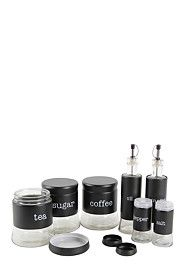 Perfect glass storage set for any kitchen with clear marked labels. This 7 piece set includes a tea, coffee, sugar canister, a salt and pepper shaker and a Give Me Home, Mr Price Home, Sugar Canister, Perfect Glass, Storage Sets, What To Cook, Kitchen Storage, Salt, Stuffed Peppers