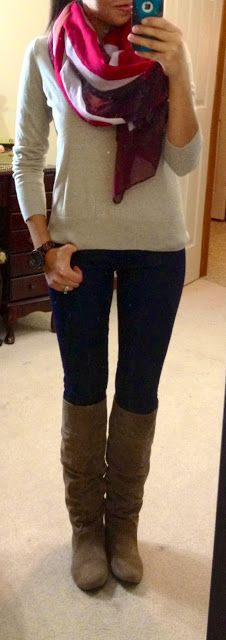 Scarf, gray sweater, tight yoga pants or leggings, brown boots