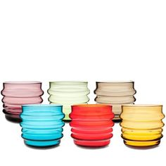 glass tumblers in happy colors for spring-  from thelollipopshoppe.co.uk, brand: Marimekko, designer Anu Penttinen