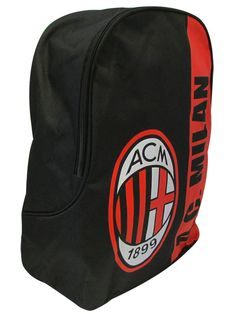 AC Milan FC Backpack - Comprises of one main zip closing compartment Ideal for school gym kits or nights away