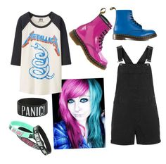 """""""blue and pink"""" by crazymofoxd1 ❤ liked on Polyvore featuring Bibi, Uniqlo, Dr. Martens and Topshop"""