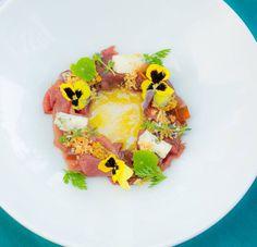 Smoked kudu carpaccio served with gorgonzola, grain mustard & sherry vinegar http://tenbompas-restaurant.co.za/