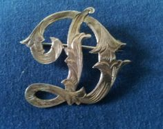 """Vintage Etched Sterling Initial """"D"""" Brooch Pin from Mexico"""