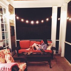 Screened in porch with lights