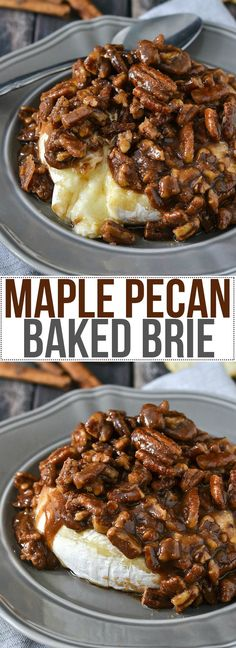 Maple Pecan Baked Brie     1 round (8 ounce) brie     ¼ cup light brown sugar     ¼ cup pure maple syrup     ¼ teaspoon ground cinnnamon     ¾ cup chopped pecans