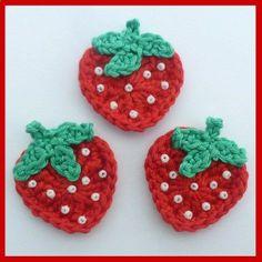 3 Strawberry crochet appliques