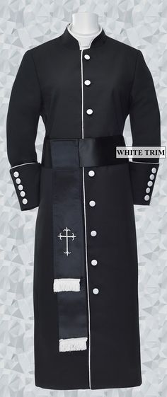 720e159dae 178 W. Women s Pastor Clergy Robe - Black White Cincture Set.