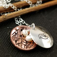 Mama Bird Necklace, Hand Stamped Mothers Necklace, Personalized Sterling Silver Jewelry, Copper, Nes