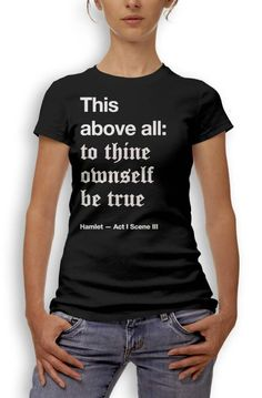 Shakespeare quotes on t-shirts