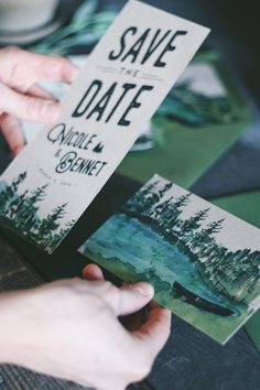 Rustic Watercolor Save The Date: Forest and Trees