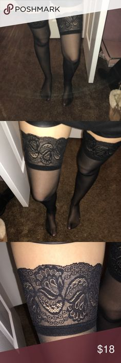 SEXY Black sheer lace thigh high stockings Thigh high sexy lace stocking Accessories Hosiery & Socks