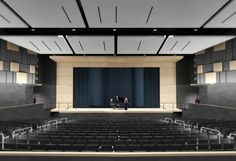 Hord Coplan Macht, in association with local architecture firm ABHA Architects, provided architecture and interior design services for Dover High School, a new high school for the Capital School District in Dover, Delaware University Interior Design, Church Interior Design, Church Stage Design, Interior Design Services, School Hall, High School, Conference Room Design, Auditorium Design, Multipurpose Hall