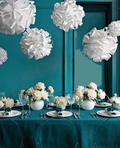 Lovely Teal Wedding Decor.. No Big Ball Things And Add A Little Peach To The