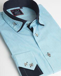 Turquoise dress shirt for men by Franck Michel