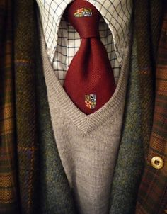 "heavytweedjacket: ""The deep of winter. Donegal tweed, tattersall, merino v-neck, Four Provinces tie, Magee scarf, Barbour Beaufort. Cold day. Snow in the evening. """