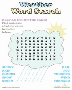 First Grade Earth & Space Science Word Search Vocabulary Worksheets: Weather Word Search Puzzle