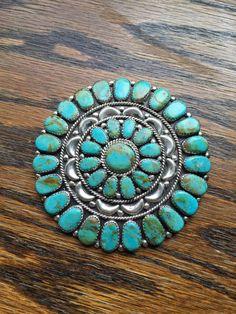 Large Navajo Juliana Williams Sterling Silver Turquoise Cluster Pin Brooch JW #julianaWilliams