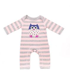 Pink & Grey Owl Applique Romper - Infant by Lucy & Sam on #zulilyUK today!
