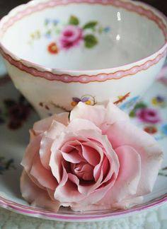 Rose tea cup and saucer Rose Cottage, Tea Cakes, Vintage Tea, Vintage Dishes, High Tea, Rose Buds, Afternoon Tea, Cup And Saucer, Tea Time