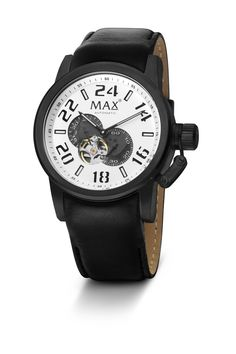 #MaxXLWatches Reference: 5-max528 Classic               Movement: Automatic movement             Diameter: 47 mm                                      Water rsistence: 30m                               Description: Stainless steel case with black IP, mineral glass, White  dial.                                               Strap: Genuine black leather.Available at www.chronowatchcompany.com