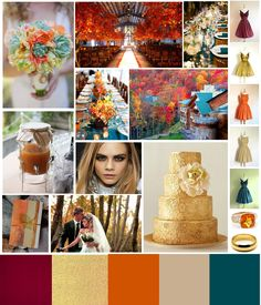 Unique fall color scheme. Fall shades of cranberry red, shimmering gold, amber orange, and deep teal. Good for rustic mountain weddings with pops of bold color.