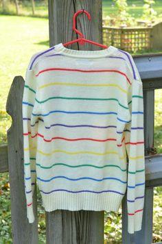 80s Youth Girl's Sweater Rainbow Stripe Heart Jillyflowers