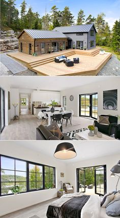 Visit the website for Barn House / Barndominium BEST Style and Inspirations Tags: Barndominium plans texas cost for sale house plans prices with shop with loft pictures images 2 story with garage small simple Modern Barn, Modern Farmhouse, Modern Decor, Farmhouse Small, Farmhouse Plans, Rustic Modern, Modern Cottage, Barndominium Floor Plans, Log Houses