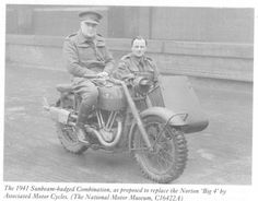 British/Allied Motorcycles with Sidecars/ Military Norton WD Big 4