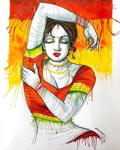 Sexy Painting, Figure Painting, Painting & Drawing, Dancer Drawing, Cool Art Drawings, Art Sketches, Drawing Pictures, Indian Art Gallery, Cartoon Girl Drawing