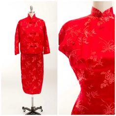 Vintage 1950s Dress Set Cherry Red Bamboo Floral von stutterinmama