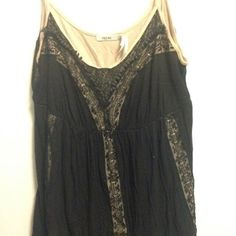 Spaghetti Strap top Black and nude lace top, slight pleats. Urban Outfitters Tops Tank Tops