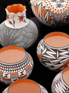 New Mexico Acoma pottery, with its recognizable monochrome and polychrome designs, is some of the most beautiful American Indian (Native American) pottery available.: