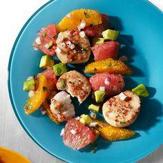 Pan-Seared Scallops with Citrus-Avocado Salsa #recipe