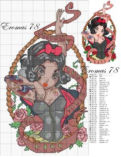 Snow White Pin Up cross stitch pattern - this series is amazing!!