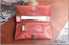 Leather Handmade  Tobacco Ciger case / Dark Simple red   by LaRima, $36.00
