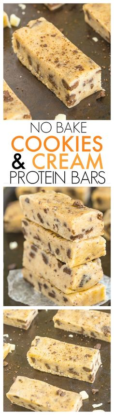 Healthy No Bake Cookies and Cream Protein Snack Bars Recipe- Just 10 minutes and 1 bowl to whip these up- Soft, chewy and no refrigeration needed- They taste like candy! {vegan, gluten free, refined sugar free + paleo option!} - thebigmansworld.com #recipe #healthy #nocook